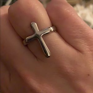 Silver cross ring size 8